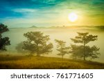 sunrise at the pine hill with...   Shutterstock . vector #761771605