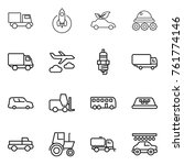 thin line icon set   truck ... | Shutterstock .eps vector #761774146
