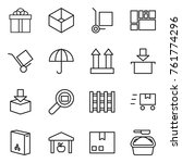 thin line icon set   gift  box  ... | Shutterstock .eps vector #761774296