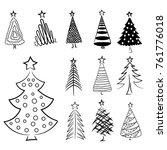 Hand Drawn Christmas Trees Set. ...