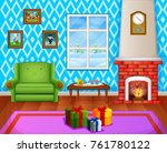christmas living room with a... | Shutterstock . vector #761780122