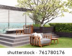 modern roof top with sofa and... | Shutterstock . vector #761780176