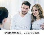 together again. happy joyful... | Shutterstock . vector #761789506