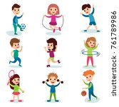 smiling little kids characters... | Shutterstock .eps vector #761789986