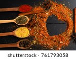 composition of condiment making ... | Shutterstock . vector #761793058