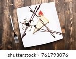 dessert with chocolate lines ... | Shutterstock . vector #761793076
