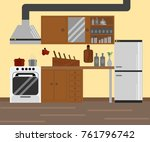 cozy little kitchen flat design. | Shutterstock .eps vector #761796742