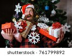 christmas man with beard on... | Shutterstock . vector #761799892