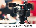 camera recording publicity event | Shutterstock . vector #761801272