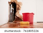 damaged wall  exposed burst... | Shutterstock . vector #761805226