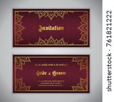 luxury wedding invitation with... | Shutterstock .eps vector #761821222