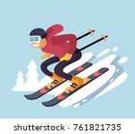 smiling cartoon skiing downhill.... | Shutterstock .eps vector #761821735