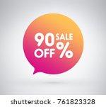 90  offer label sticker  sale... | Shutterstock .eps vector #761823328