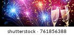 colorful fireworks with... | Shutterstock .eps vector #761856388