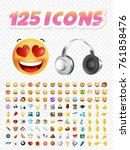 set of realistic cute icons on... | Shutterstock .eps vector #761858476