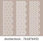 vector set of line borders with ... | Shutterstock .eps vector #761876452