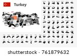 flag and gray map of turkey... | Shutterstock .eps vector #761879632