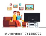 family husband   wife relaxing... | Shutterstock .eps vector #761880772