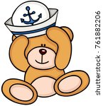 teddy bear with hat of sailor | Shutterstock .eps vector #761882206