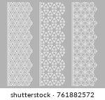 vector set of line borders with ... | Shutterstock .eps vector #761882572
