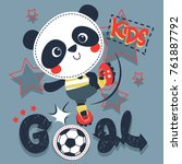 cute cartoon panda boy kicking... | Shutterstock .eps vector #761887792