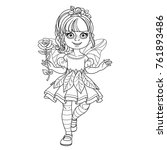 cute girl in a fairy costume... | Shutterstock .eps vector #761893486