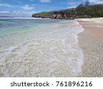 clear waters with soft foaming... | Shutterstock . vector #761896216