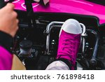 go kart drivers shot from the... | Shutterstock . vector #761898418