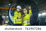 male and female industrial... | Shutterstock . vector #761907286