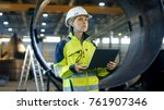 female industrial engineer in... | Shutterstock . vector #761907346