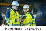 male and female industrial... | Shutterstock . vector #761907976