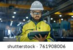 industrial engineer in hard hat ... | Shutterstock . vector #761908006