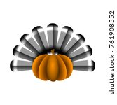 pumpkin with turkey feathers on ... | Shutterstock .eps vector #761908552