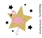 pink flamingo with stars ... | Shutterstock .eps vector #761909986
