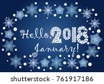 inscription hello  january in a ... | Shutterstock .eps vector #761917186