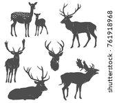 vector set of deer silhouettes... | Shutterstock .eps vector #761918968