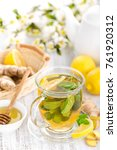 flavored herbal tea with fresh... | Shutterstock . vector #761920312