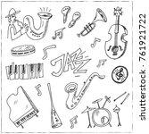 hand drawn doodle jazz set... | Shutterstock .eps vector #761921722