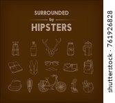 set of 16 light brown hipster... | Shutterstock .eps vector #761926828