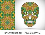 day of the dead colorful sugar... | Shutterstock .eps vector #761932942