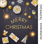 merry christmas poster with... | Shutterstock .eps vector #761944162