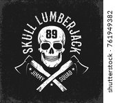 Hipster Emblem With Skull And...