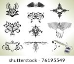 series set of tattoo flash... | Shutterstock .eps vector #76195549