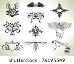 series set of tattoo flash... | Shutterstock .eps vector #76195549