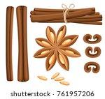 cinnamon stick  star anise ...   Shutterstock .eps vector #761957206