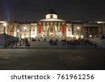 trafalgar square at night ... | Shutterstock . vector #761961256