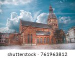 riga church of st. peter and... | Shutterstock . vector #761963812