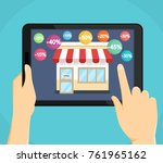 purchases using a tablet...   Shutterstock .eps vector #761965162