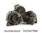 old used generators isolated on ... | Shutterstock . vector #761967586