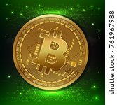 golden bitcoin digital currency ... | Shutterstock .eps vector #761967988